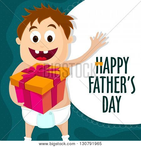 Elegant greeting card design with illustration of a cute boy holding gift for Happy Father's Day celebration.