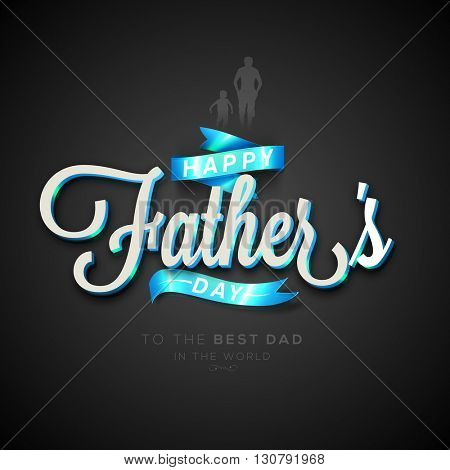 Greeting Card design with Creative Glossy Text Happy Father's Day and Ribbon on grey background.
