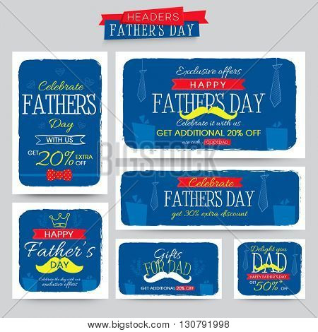 Creative Sale Headers set with different elements for Happy Father's Day celebration.