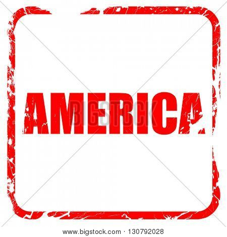 america, red rubber stamp with grunge edges