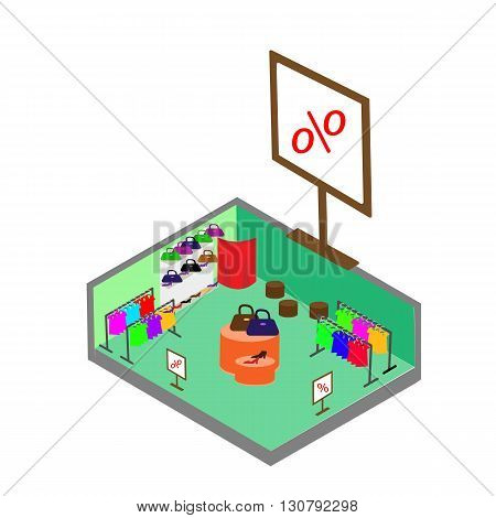 Flat 3d isometric fashion boutique shopping mall sale concept vector. Clothes clothing bags shoes. Shop isometric.