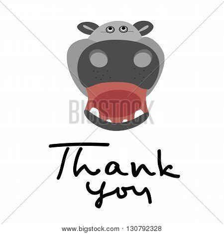 Thank you handwritten vector illustration dark brush pen lettering isolated on white background with hippo.