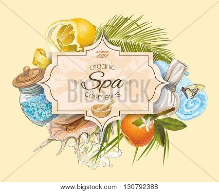 Spa treatment banner with lotus, palm leaf and citrus fruits. Design for cosmetics, store, spa and beauty salon, organic health care products.  Vector illustration.