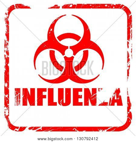 Influenza virus concept background, red rubber stamp with grunge