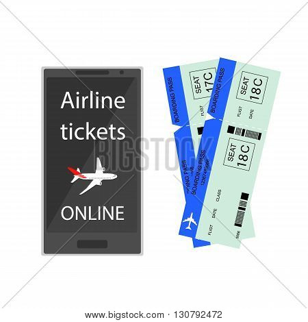 Airline tickets online. Buying or booking Airline tickets. Ticket reservations by phone. Online app for tickets order. Internation flights. Flat 3D isometric. Vector illustration.