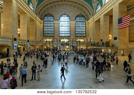 NEW YORK, USA - MAY 18, 2016: Interior of Grand Central Station in NYC. The terminal is the largest train station in the world by number of platforms having 44.