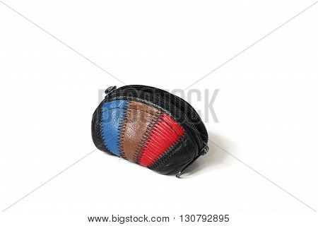 Wallet for coins on a white background.
