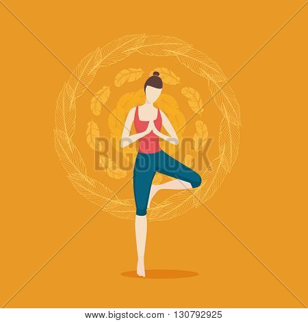 Vector illustration with girl doing yoga. Isolated background