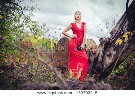 The Blonde In A Red Dress On The Excavator, Beauty Fashion, Autumn