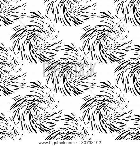 Pattern of black stylized grunge circles. Vector seamless