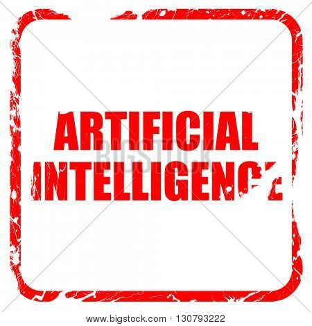 artificial intelligence, red rubber stamp with grunge edges