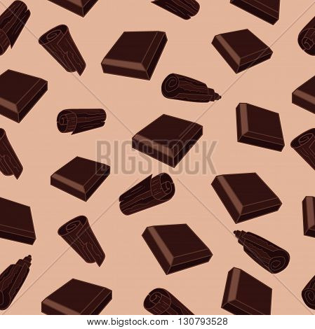 Seamless pattern with chocolate bits and chocolate chips