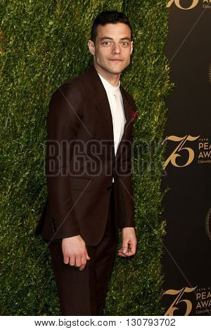 NEW YORK-MAY 21: Rami Malek attends the 75th Annual Peabody Awards Ceremony at Cipriani Wall Street on May 21, 2016 in New York City.