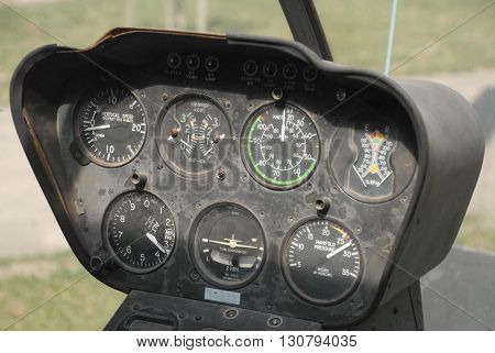ANKARA/TURKEY-MARCH 1, 2016: Robinson R22 helicopter's instrument panel at the Turkish Air Association-THK's air museum. March 1, 2016-Ankara/Turkey