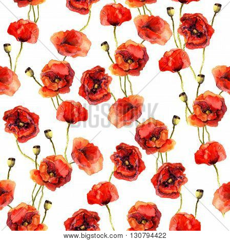 Vintage floral repeating sealess background with poppies in natural colors