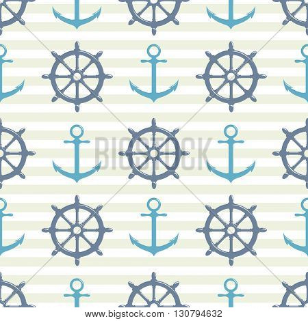 Vintage seamless pattern with steering wheel and anchor on striped blue background. Vector Illustration