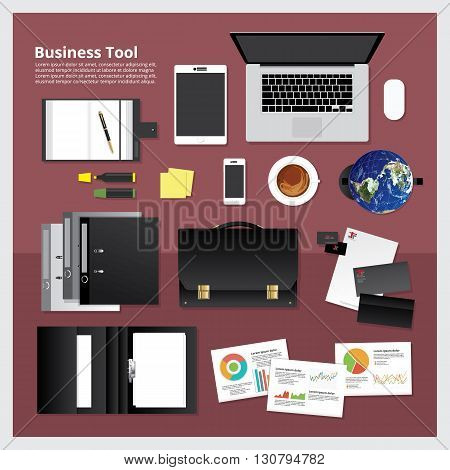 Flat design for Business Tool Workplace concept