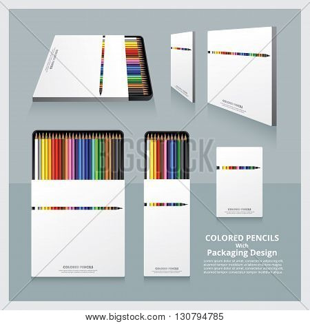 Color Pencils set with Packaging Design Realistic