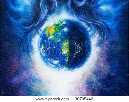 Planet earth in cosmic space  surrounded by  blue woman hair, Cosmic Space background. Original painting on canvas. Earth concept