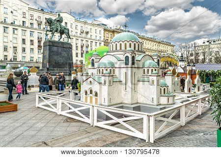 Moscow Russia - April 24 2016: Model of Serbian Cathedral of Saint Sava in Tverskaya square.