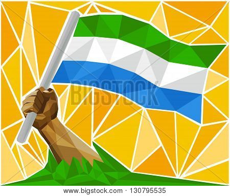 Arm Raising The Republic Of Sierra Leone National Flag