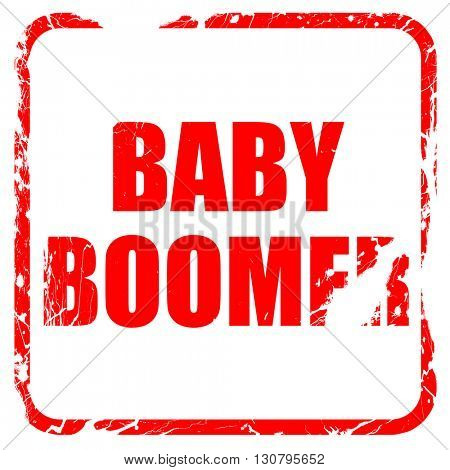 baby boomer, red rubber stamp with grunge edges