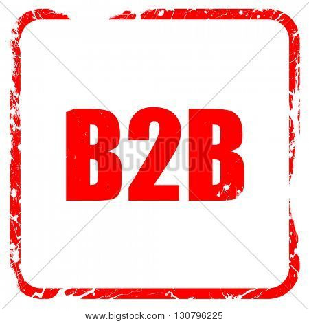 b2b, red rubber stamp with grunge edges