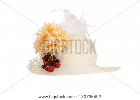 isolated ladies victorian hat on a white background