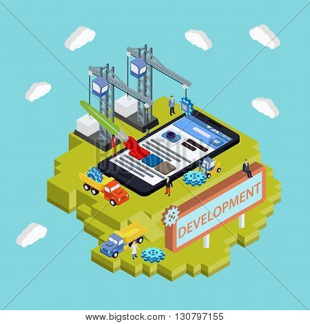 Mobile App Development Creative Process Visualization Flat 3D Web Isometric Concept