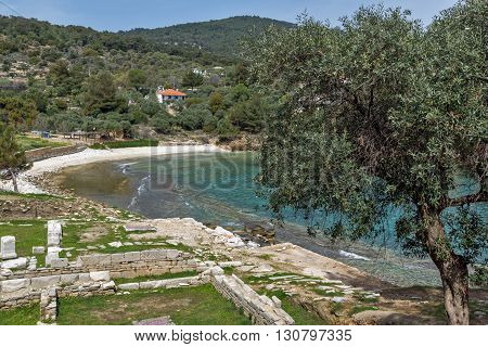 Ruins in Archaeological site of Aliki, small beach and olive trees, Thassos island,  East Macedonia and Thrace, Greece