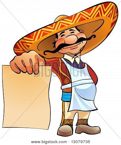 Mexican cook with menu.