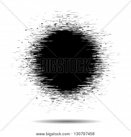 Blsck grunge Circle spot on a white, vector illustration. EPS