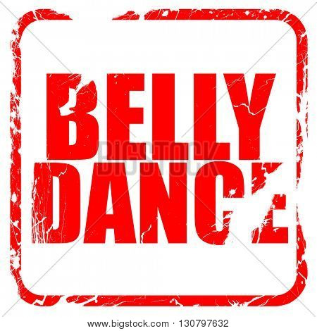 belly dance, red rubber stamp with grunge edges