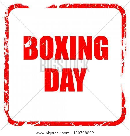boxing day, red rubber stamp with grunge edges