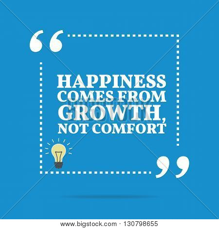 Inspirational Motivational Quote. Happiness Comes From Growth, Not Comfort.