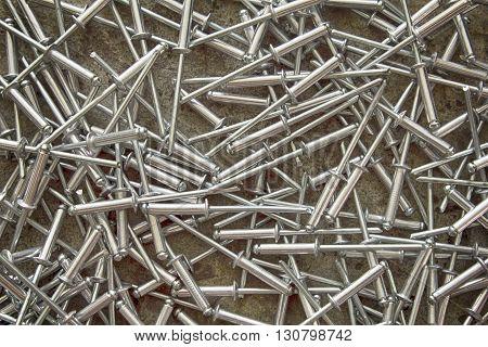 Heap of pop rivets, or blind rivets,