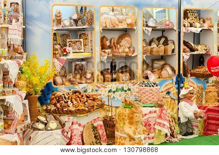 GOMEL BELARUS - MAY 19 2016: Demonstration stand with bakery products at the XVII International exhibition