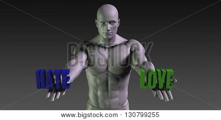 Hate vs Love Concept of Choosing Between the Two Choices 3d Illustration Render