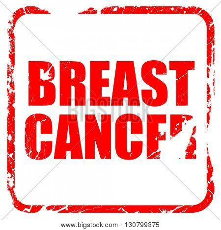 breast cancer, red rubber stamp with grunge edges