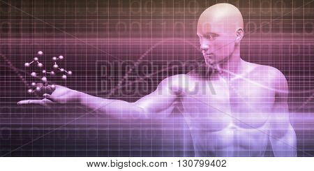 Science Molecule Held by a Scientist as Concept 3d Illustration Render