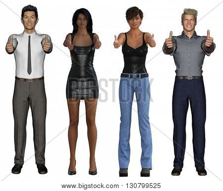 Smiling Business Group Giving Thumbs Up on White 3d Illustration Render