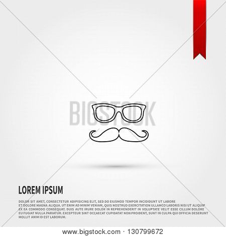 Mustache and Glasses icon.  Mustache and Glasses symbol. Fathers day concept. Flat design style. Template for design.