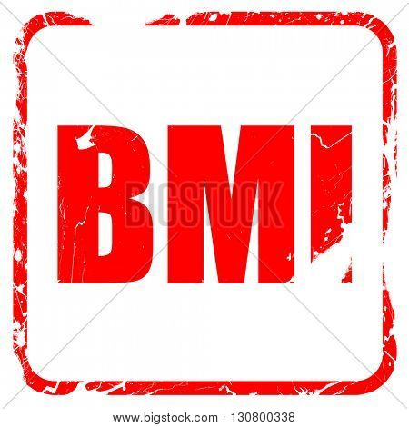 bmi, red rubber stamp with grunge edges