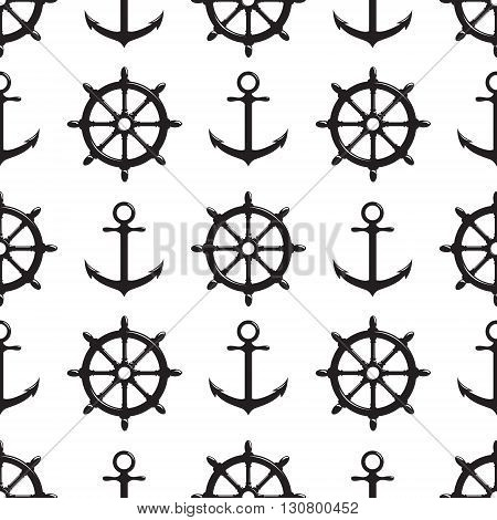 Seamless pattern with steering wheel and anchor on white background. Vector Illustration