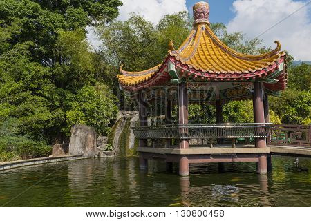 Observation place over a Koi Pond at a Buddhist Temple in Penang Malaysia