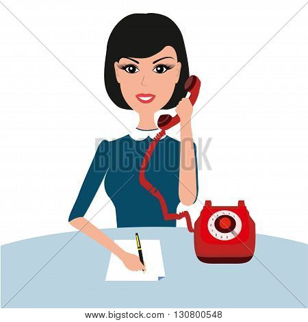 Vector businness woman on table with phone. Young businesswoman woman talking phone at the office. Vector secretary illustration. Businness woman with telephone.