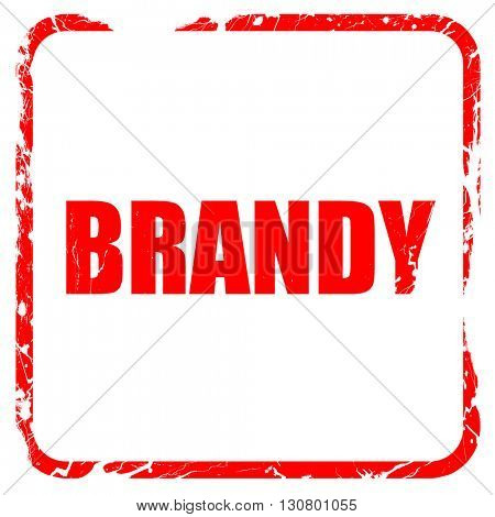 brandy, red rubber stamp with grunge edges