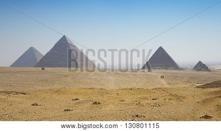 Giza valley with great pyramids with blue sky