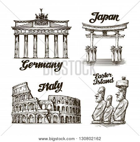 Travel. Hand drawn sketch Germany, Japan, Italy, Easter island. Vector illustration