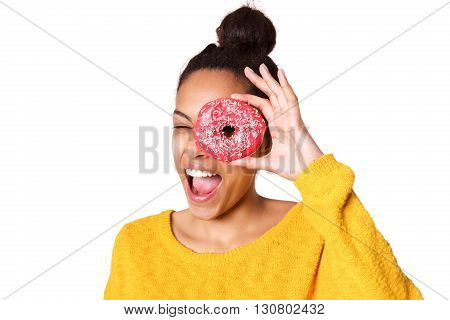 Naughty Young Woman Looking Through A Donut